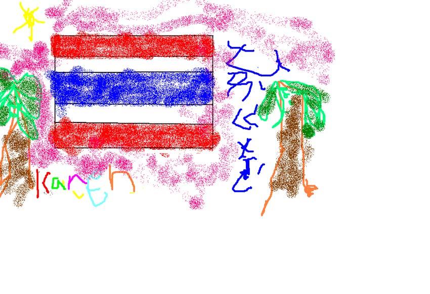 欣颖的泰国国旗画名字设计的很漂亮